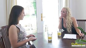 OldNannY Classy Lesbian Interview plus Tits Massage