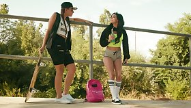 Funny teen Gia Derza is dirty talking with her androgynous girlfriend