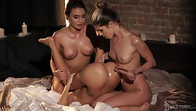 Naughty lesbo girls enjoy having anal sexual congress with toys - Gina Gerson