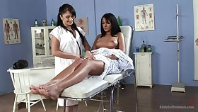 Pretty and horny Lea Lexis gets her cunt pleased wide of a lesbian doctor