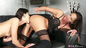Kira Zen and Terra Twain lick their wet cunts in the first place camera
