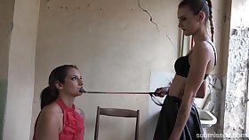 Skinny wicked mistress dominates a slave haler than her