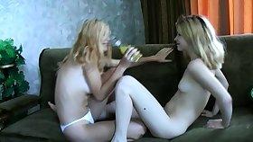 Lesbian teen takes care of fair-haired mature lesbian